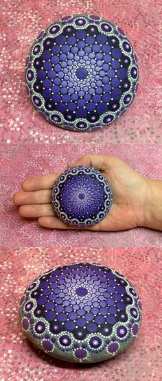 Mandala Stone by Kimberly Vallee: Hand painted with acrylic and protected with a matt finish, each stone is diameter and is one-of-a-kind. - Crafts For The Times Mandala Art, Mandala Design, Mandala Rocks, Mandala Painting, Pebble Painting, Dot Painting, Pebble Art, Stone Painting, Easy Mandala