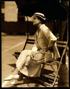 Chronically Vintage: {Actress Irene Rich sitting courtside in 1934, as she was photographed by Lusha Nelson for Vogue magazine.}