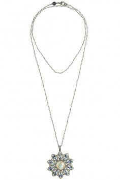 Floral Diamond Embellished Pendant Necklace   | Calypso St. Barth