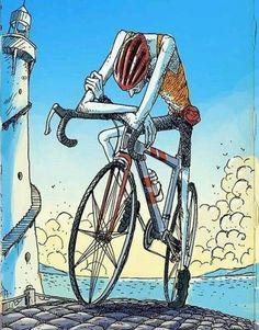 Extenuado na bici.