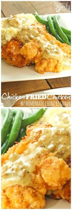 This Chicken Fried Chicken with Homemade Country Gravy is a true family favorite that always has everyone begging for more. The gravy is to die for! via Favorite Family Recipes fried chicken recipe Turkey Recipes, Meat Recipes, Dinner Recipes, Recipies, Game Recipes, Brocolli Recipes, Quorn Recipes, Whole30 Recipes, Pasta Recipes
