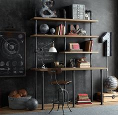 Industrial Pipe Single Desk & Shelving. This could be made for cheaper than buying ~ free standing would give it more flexibility to be used in other rooms