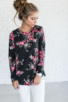 Cassidy Floral Top - Charcoal. Floral Top OutfitFloral ... c64b0b3f6641