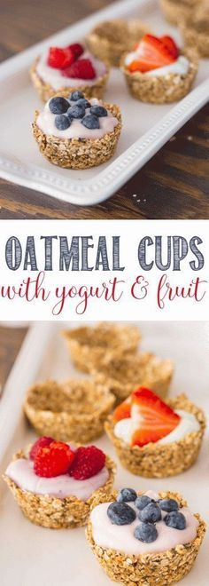 Healthy Recipes - Oatmeal Cups with Yogurt and Fruit and perfect for brunch, Mother's Day, showers and any get together. An easy breakfast recipe! Breakfast And Brunch, Breakfast Recipes, Breakfast Ideas, Breakfast Healthy, Breakfast Fruit, Birthday Breakfast, Healthy Brunch, Breakfast Muffins, Morning Breakfast