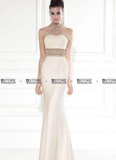 Vestido Longo Coluna Halter com Pedraria Tarik Ediz ROMA 92530