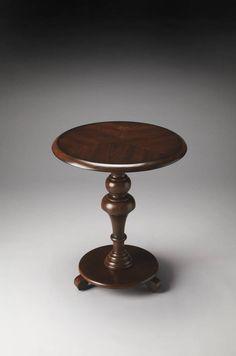 Plantation Cherry Nicolet Dark Brown Rubberwood MDF Pedestal Table