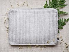 Light Gray with Blue Paisley Laptop Case // Handmade // Sleeve