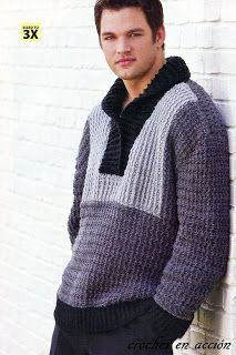 *Free Crochet Pattern: Men's Tuxedo-Front Pullover #SweaterCrochetPatterns