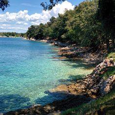 Beautiful beach near Drenje, clear water, Labin, Croatia