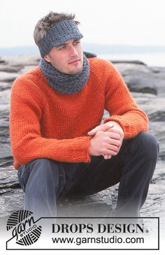 Set of knitted sweater with raglan, scarf with English rib and crocheted cap, for men, in DROPS Eskimo. Drops Design, Knitting Patterns Free, Free Knitting, Free Pattern, Crochet Patterns, Tricot Simple, Needle And Thread, Knit Crochet, Men Sweater