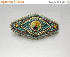 Check out Christmas sale Bead Embroidery, Christmas gift,  Barrette,  Seed bead jewelry,Swarovski jewelry, Teal , Green , Gold,Hair clip on vicus