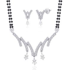 Viyari Tanisha Silvertone Indian Mangalsutra 16 Inch with 1/2 Inch Extender Necklace Earrings Jewelry Set