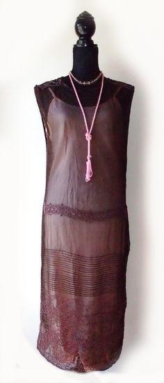 Pink beaded 1920s dress