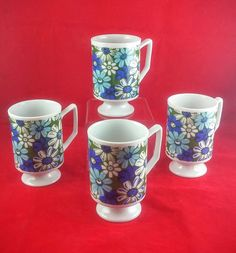 Set of Four Stackable Mid Century Modern Coffee Mugs by TheOldElf