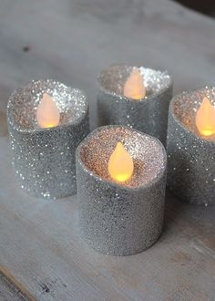 """Battery LED Votive Candles in Glittered Silver 4 per Box 1.5"""" x 1.75"""""""