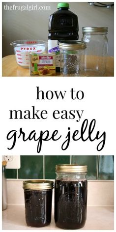 How to make homemade grape jelly (from prepared juice) (I've done this. not this recipe, but my own with grape juice, and it worked out really well! Jelly Recipes, Jam Recipes, Drink Recipes, Recipies, Juice Recipes, Cooker Recipes, Canning Tips, Canning Recipes, Homemade Grape Jelly