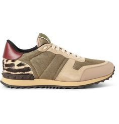 Valentino Leather-Trimmed Mesh, Suede and Calf-Hair Sneakers | MR PORTER