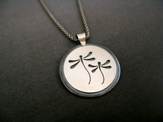 Sterling Silver Dragonfly pendants by SidheDesignsJewelry on Etsy