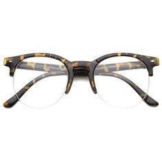 Indie Dapper Round Half Frame Clear Lens Glasses A061