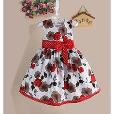 Girls Flower Print Bow Party Pageant Birthday Princess Lovely Kids Clothing Dresses – BRL R$ 75,21