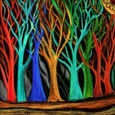 beautiful trees (peindre un arbre par personne pour représenter tous les membres d'une famille)