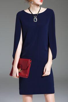 2ff9f053 Eveda.cc Purplish Blue Split Sleeve Sheath Dress | Knee Length Dresses at  DEZZAL Click