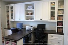 Home Office with Built-in Work Stations for two - from Sawdust Girl's helpful site