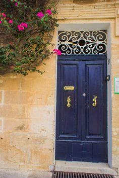 Blue Door with Purple Flowers in Valetta, Malta