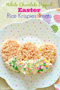 Rice Krispie Treats are perfect for any holiday, and these White Chocolate Dipped Easter Rice Krispies Treats are sure to be enjoyed by little ones on Easter.