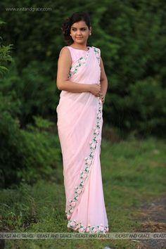 Baby Pink Rose Pure Chiffon Ribbon-Work Saree