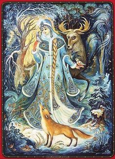 By Nina Babarkina Illustrations, Illustration Art, Russian Folk Art, Russian Painting, Fairytale Art, Beautiful Fairies, Yule, Christmas Illustration, Christmas Art