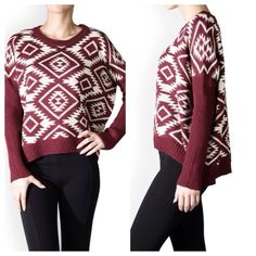Tribal Jacquard Sweater -Burgundy ✳️Bundle to save 15%!✳️ Available in Burgundy & Taupe or Black & Cream 100% acrylic Soft, non-itchy knit fabric Long sleeved Round neck Hi-Lo effect  Loose, relaxed fit Sizes: S/M(2-6), or M/L (8-12) Boutique  Sweaters