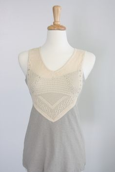 Missy Robertson's new clothing line!  Grey Knit Sheath Top with Crochet.  $79