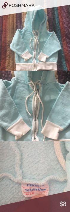 Adorable vintage zipper hoodie Vintage kids hoodie with perfect condition zipper.  Robin egg blue with white trim.  Awesome awesome vintage piece.  Tag claims 1/2 - 1 for size.  I'd translate that to 6 months to 12 months for sizing.  👶🏼 Shirts & Tops Sweatshirts & Hoodies