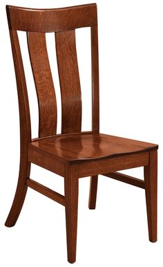 The Sherwood dining chair is shown in Quarter Sawn White Oak with a Michael's Cherry stain.