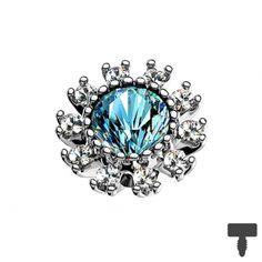 6 mm Dermal Anchor silber doppel Kristall gepflastert aqua in Materialstärke 1.2 mm Dermal Anchor, Aqua, Ring Verlobung, Sapphire, Chf, Engagement Rings, Jewelry, Engagement Ring, Crystals