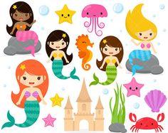 Imágenes Prediseñadas de sirena / debajo de las criaturas marinas / Caballito de mar / cangrejo / medusas / estrella de mar