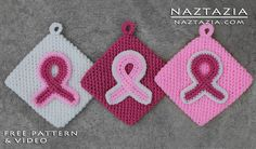 Crochet Awareness Ribbon Potholders For Breast Cancer and Other Causes