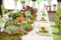 moss runner with succulents moss, flowers, rustic wood centerpiece