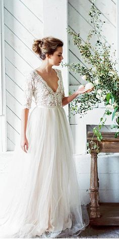 30 Fall Wedding Dresses With Charm ❤ fall wedding dresses a line with sleeves lace top tulle lace skirt emily riggs ❤ See more: http://www.weddingforward.com/fall-wedding-dresses/ #wedding #bride