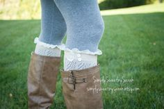 Oatmeal Lace  Open Knit Boot socks with lace by SimplySweetbySarah, $29.00