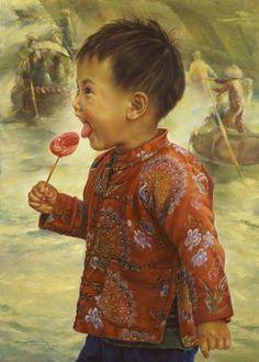 ARTIST WAI MING - Asian Oriental Chinese Fine Art Artwork Paintings Catalog (title: Wow, Sweet!)