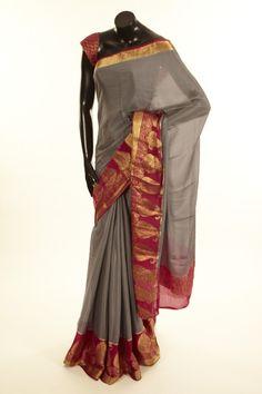 Mysore Crepe- crepe light steel grey saree with blouse