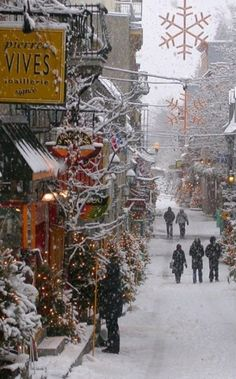 Snowy day in the Vieux-Québec (Old Town) of Quebec City, Quebec, Canada
