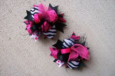 Hair Bows Set of 2---Mini Funky Fun Over the Top Bows---Pink, Black and Zebra Print---