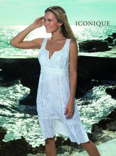 белое хлопоковое Пляжное платье  без рукавов  David  4108-KA - ICONIQUE -  купить