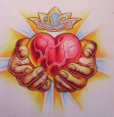 Heart of Bull Tattoo Design Flash Art, Traditional Tattoo Prints, Pencil Drawings, Art Drawings, Sacred Heart Tattoos, Bull Tattoos, Heart Tattoo Designs, Crayon, Tatting