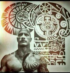 Polynesian tattoo of Dwayne The Rock Johnson