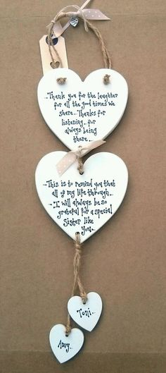 Sister Auntie Aunty Aunt Present Birthday Thank you double heart plaque Gift