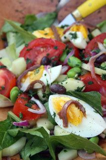 Classic Salade Nioise | David Lebovitz needs some substitutions to meet guidelines, but general idea is good.